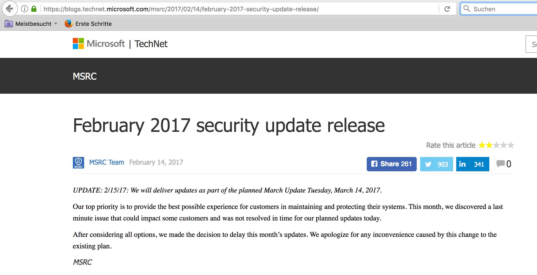 Microsoft hat den Februar-Patchday 2017 gestrichen!